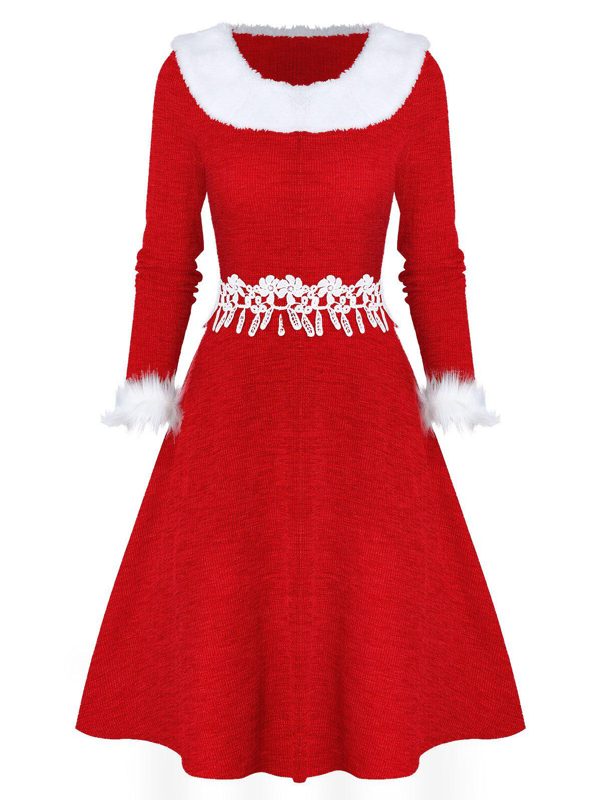 Fashion Faux Fur Panel Fit And Flare Christmas Dress