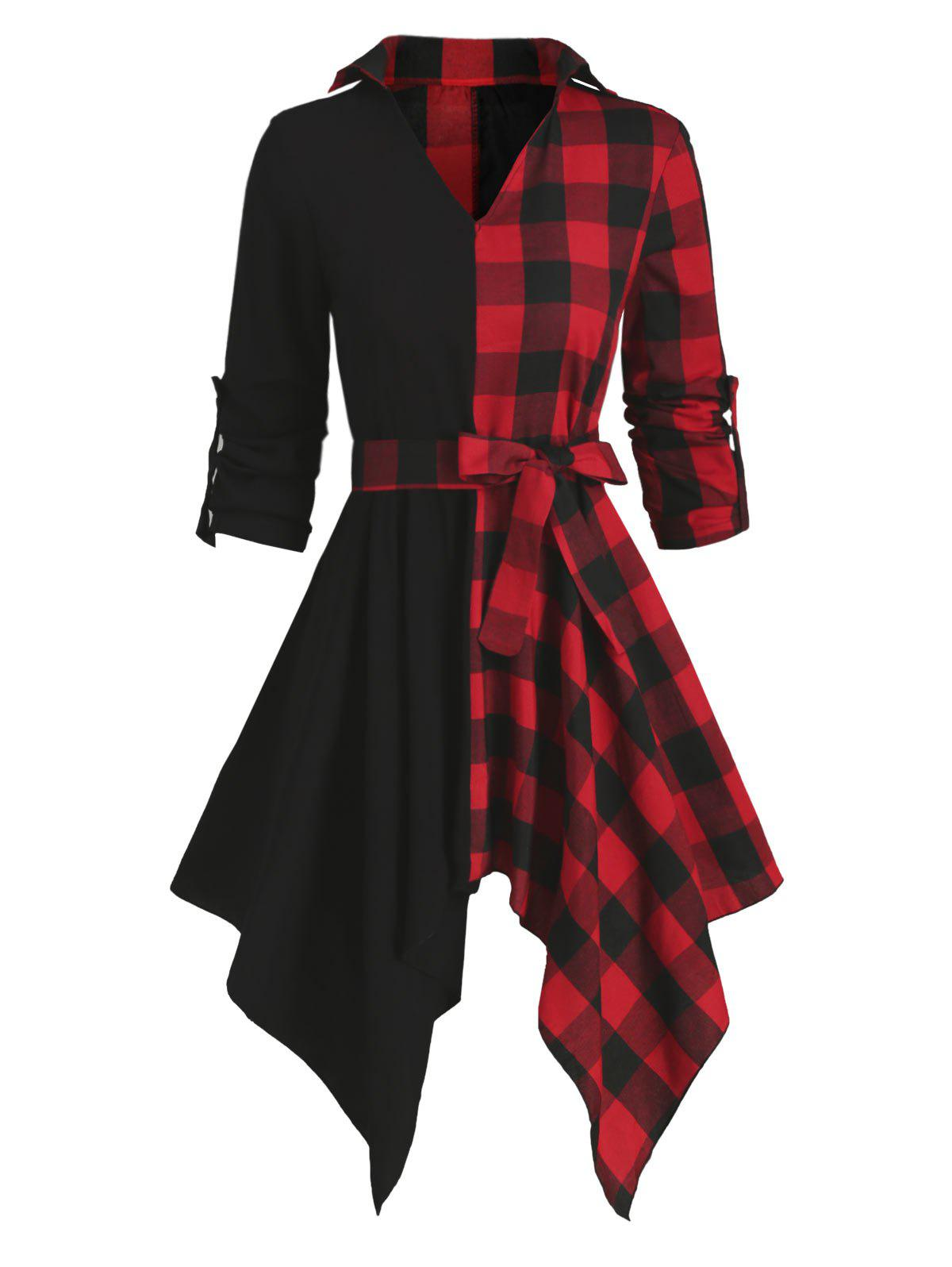 Affordable Contrast Plaid Handkerchief Long Sleeve Casual Dress