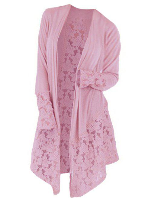 Affordable Plus Size Lace Insert Longline Cardigan