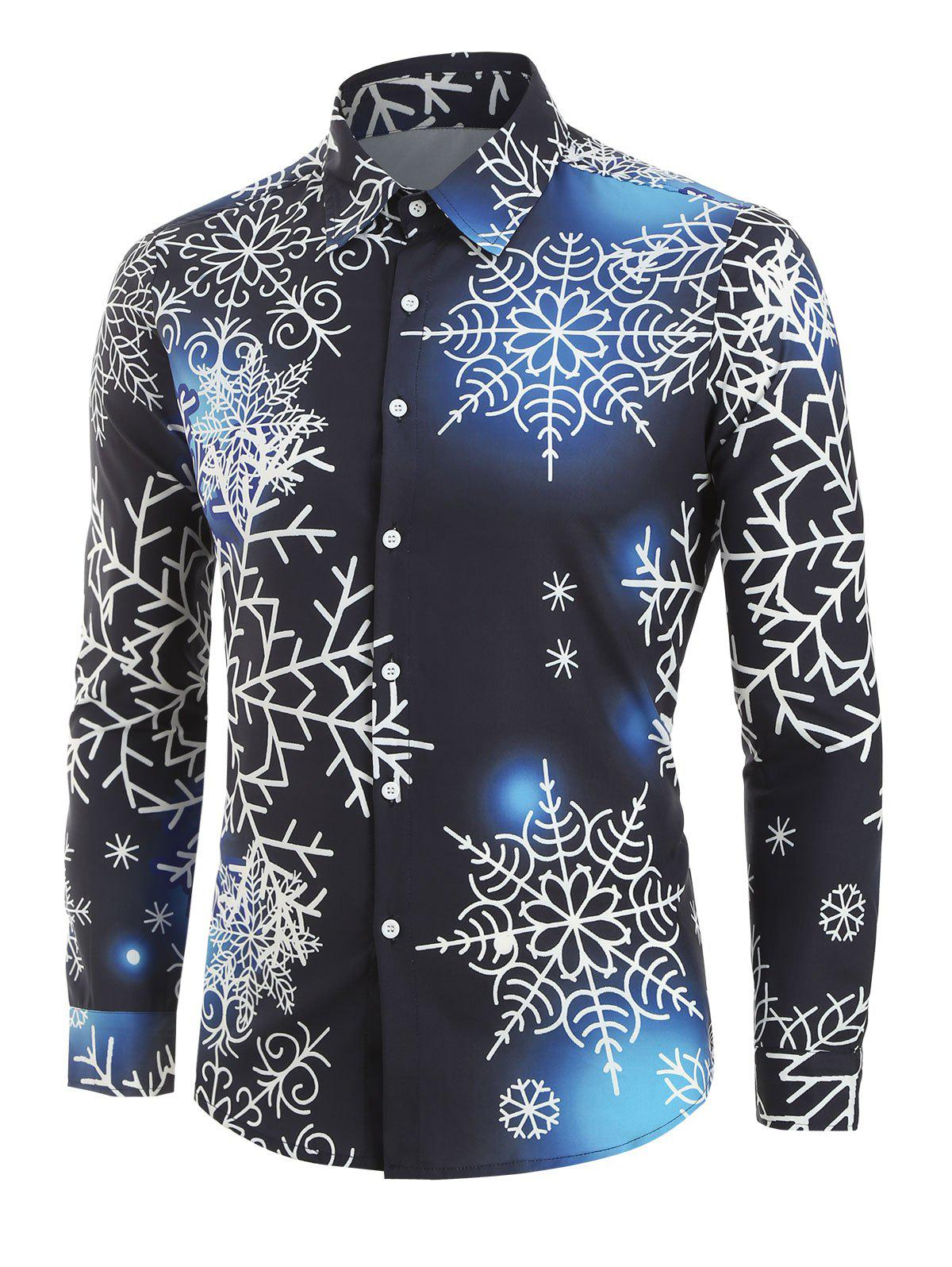 Cheap Christmas Snowflake Light Print Long Sleeve Button Up Shirt