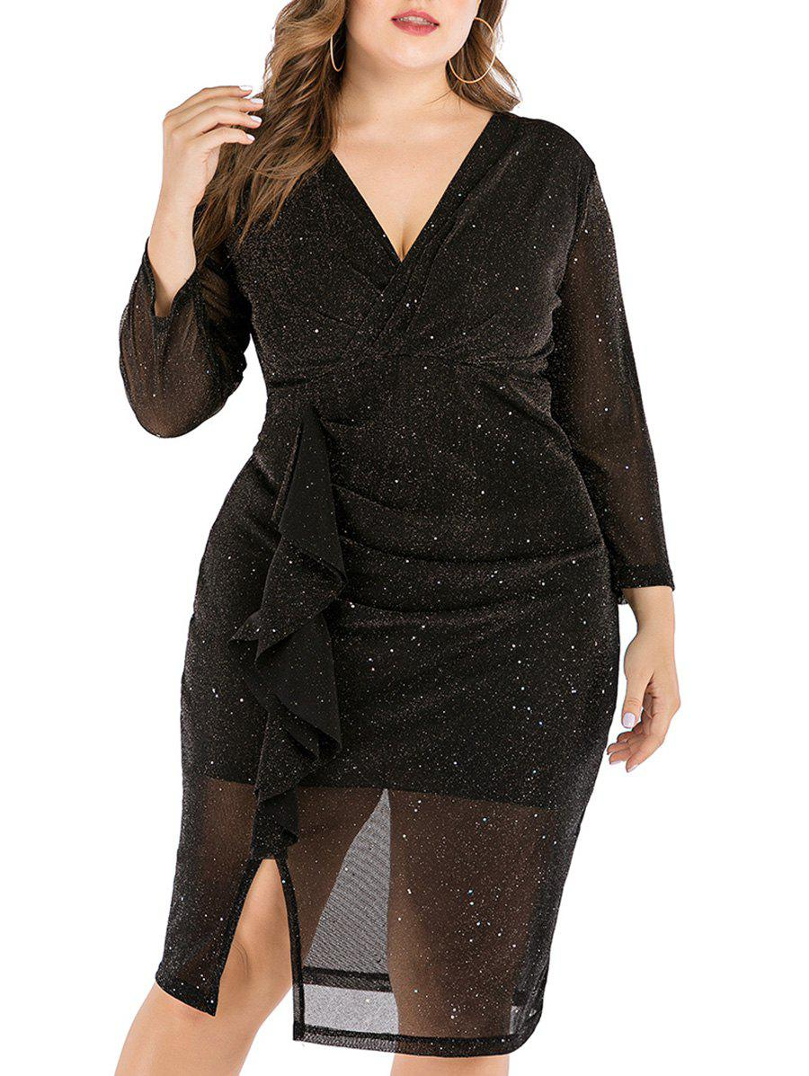 Affordable Sparkly Metallic Sequined Slit Ruffles Plus Size Dress