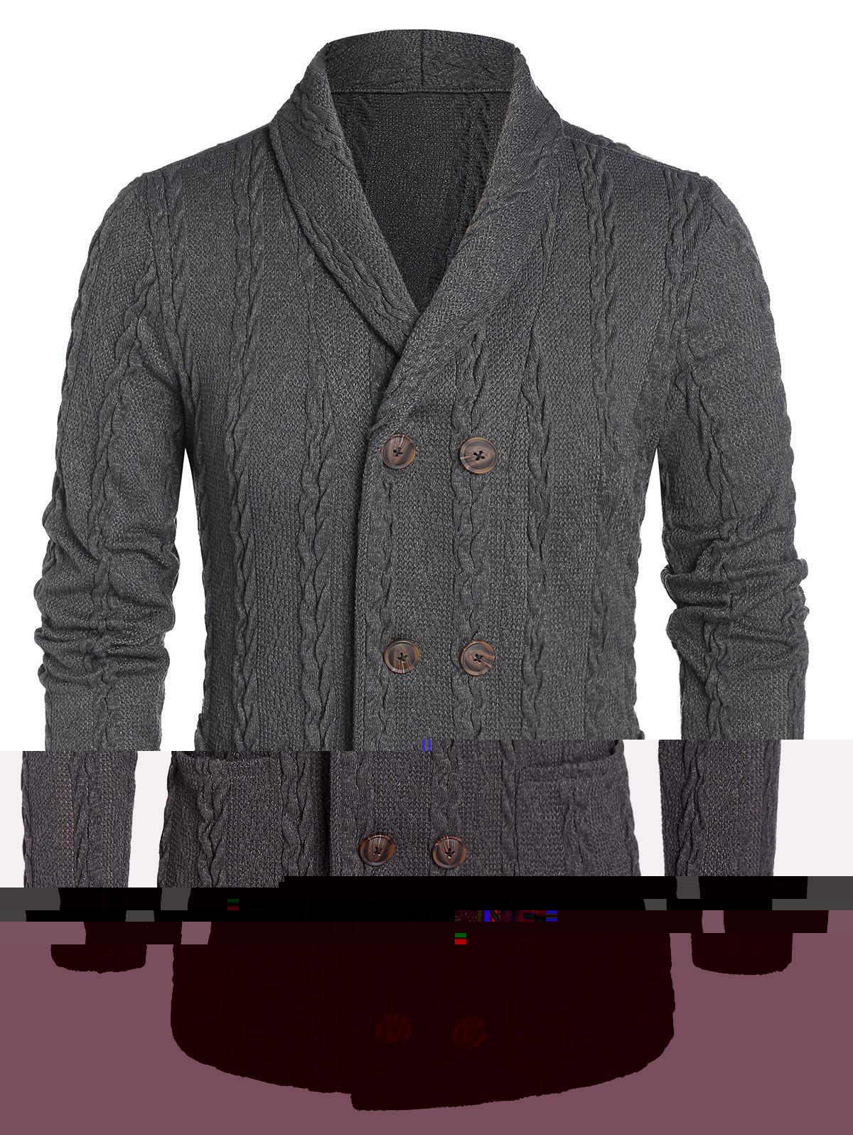 Cable Knit Double Bouton Pocket Cardigan