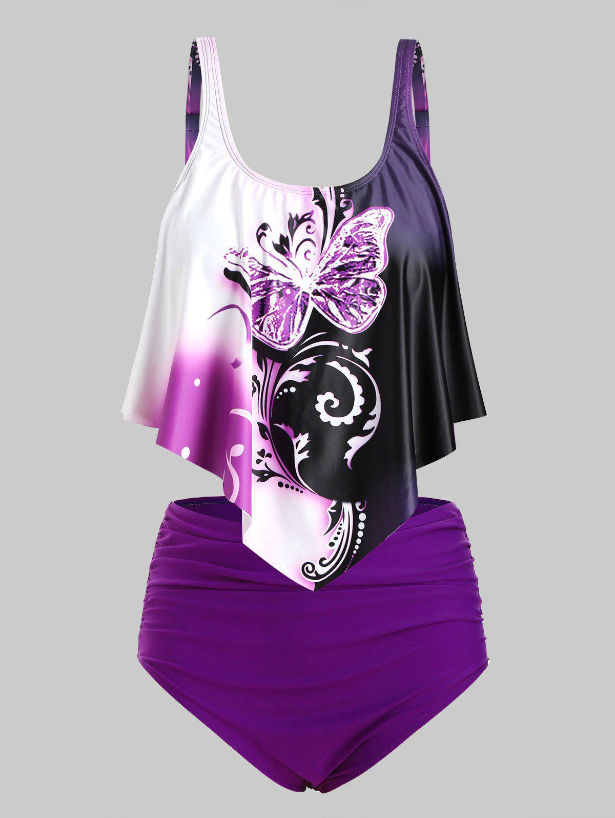 Overlay Flounces Ruched High Waisted Butterfly Print Plus Size Tankini Swimsuit фото