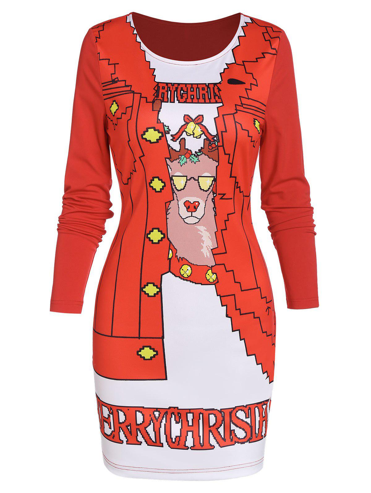 Outfits Christmas Elk Print Round Collar Dress