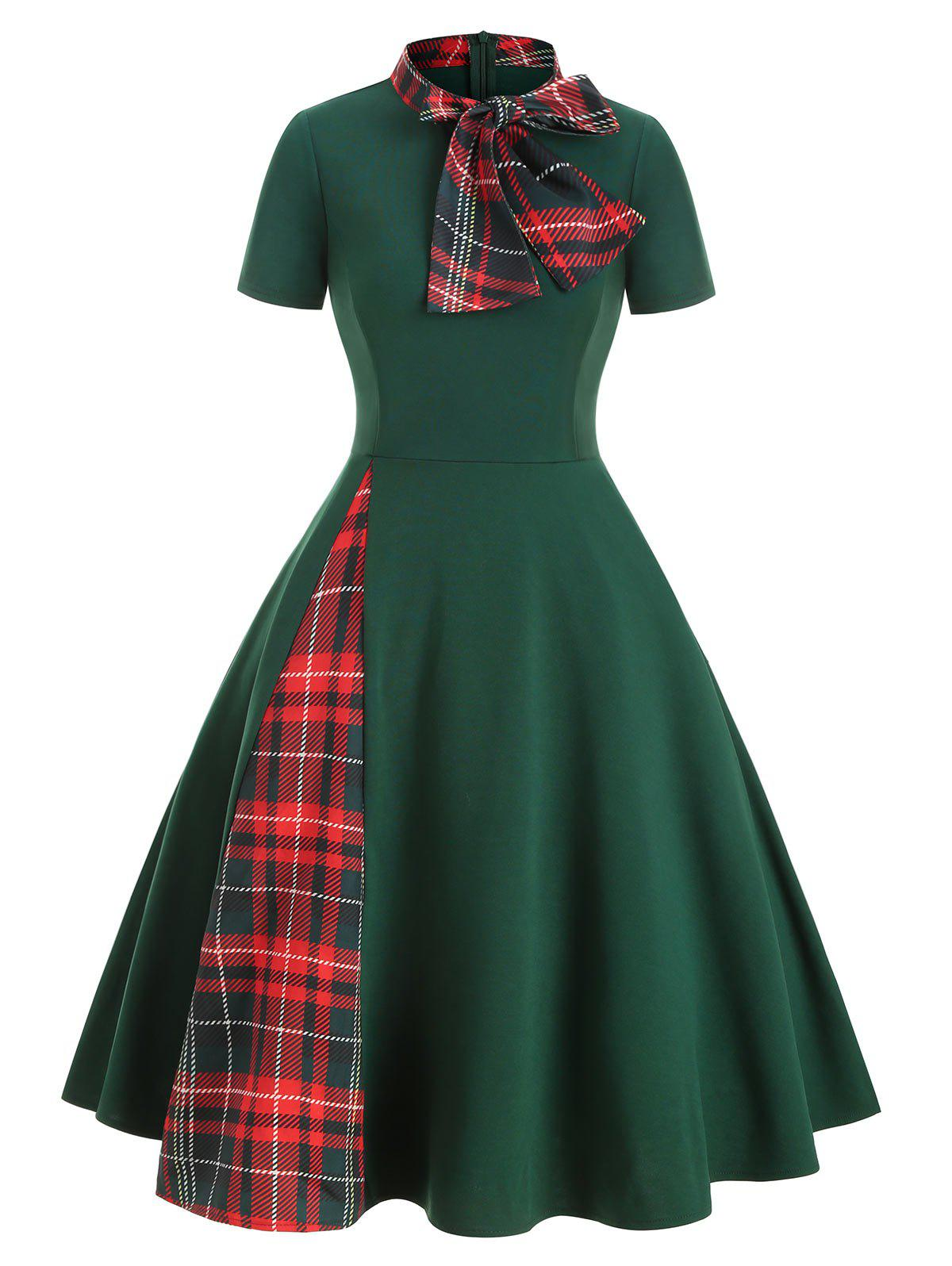 Buy Bow Tie Plaid Panel A Line Retro Dress