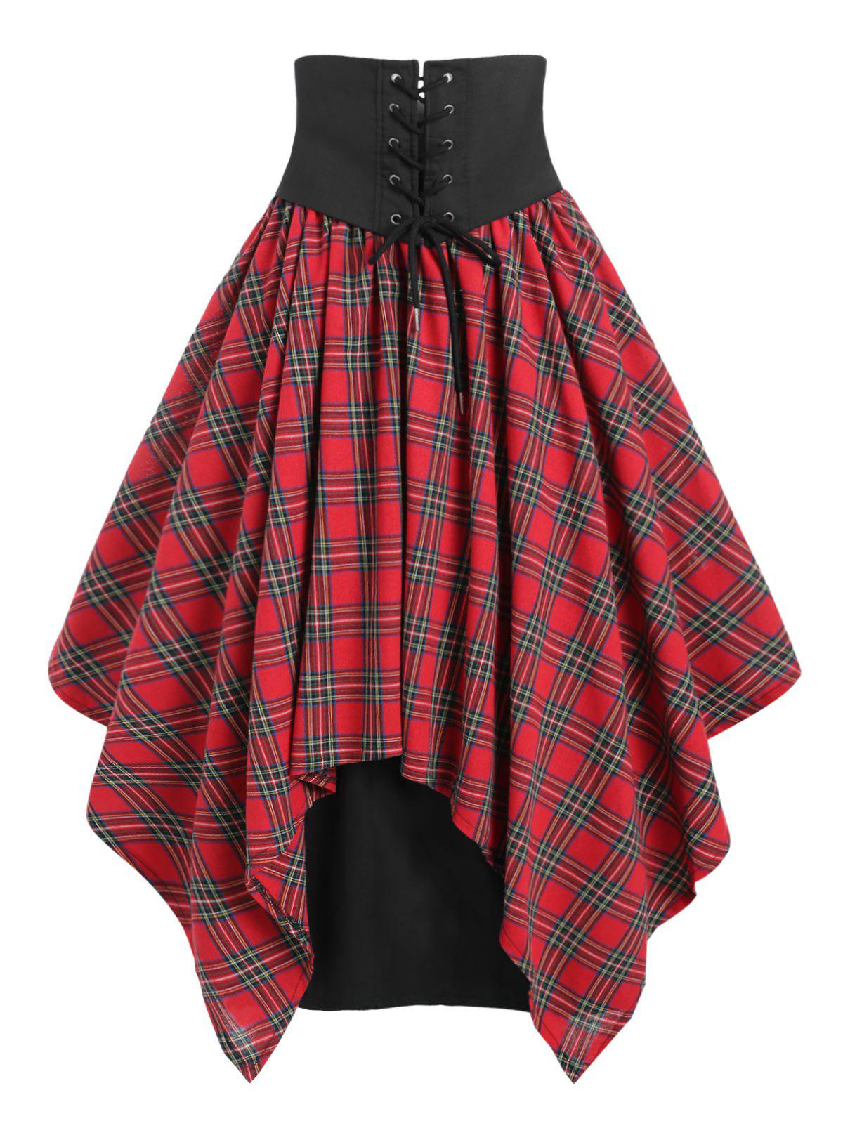 Chic Lace Up Belted Plaid Maxi Skirt
