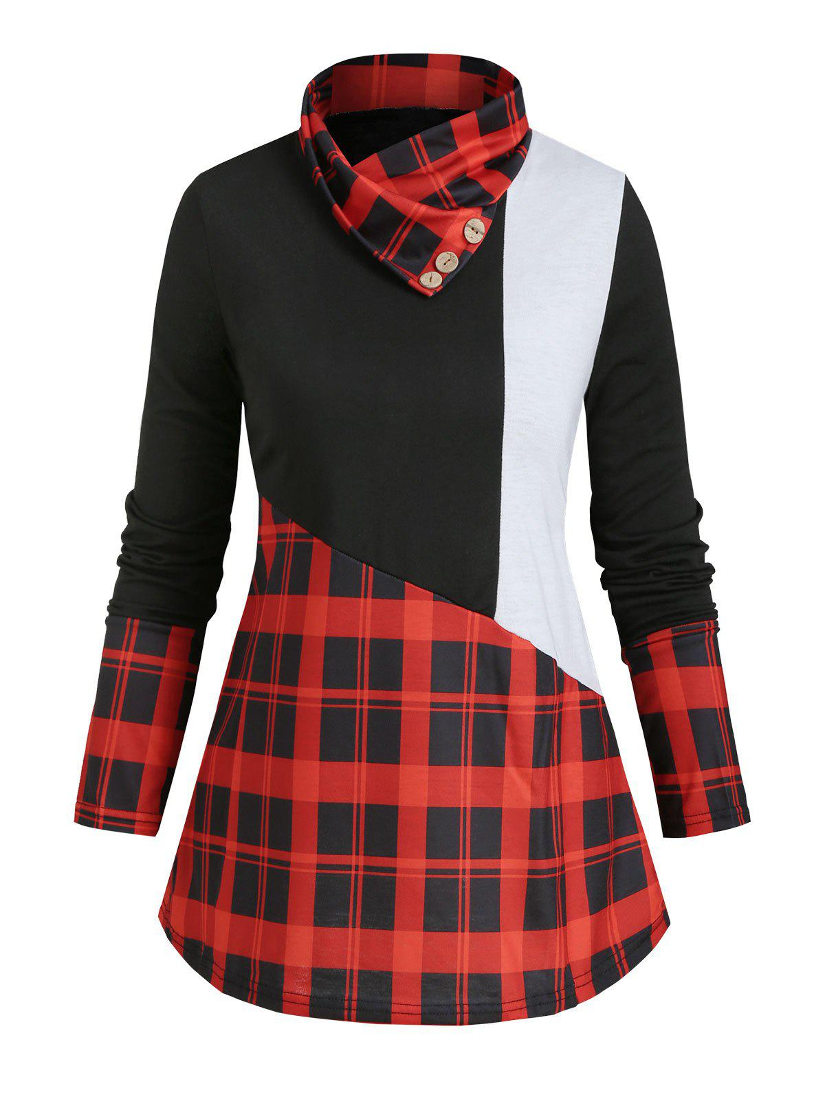 Best Plaid Panel Buttoned Cowl Neck Colorblock Top