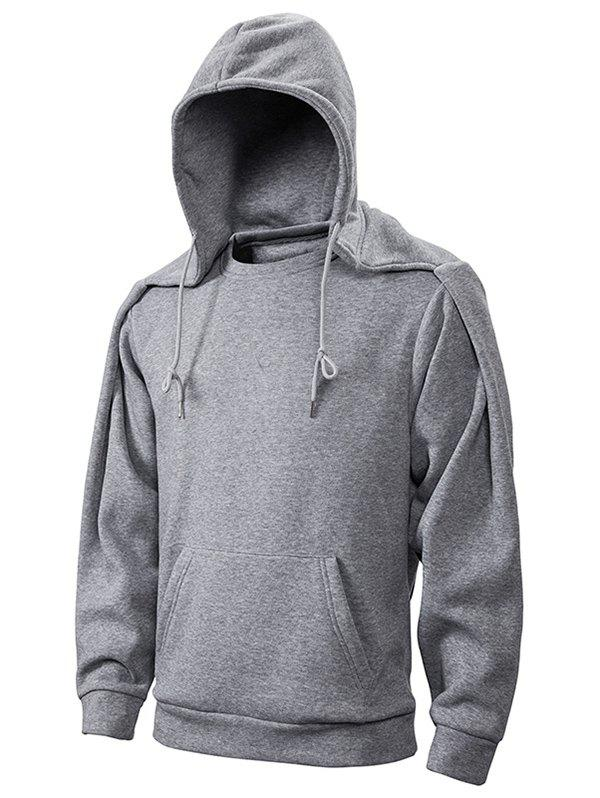 New Convertible Collar Drawstring Fleece Hoodie