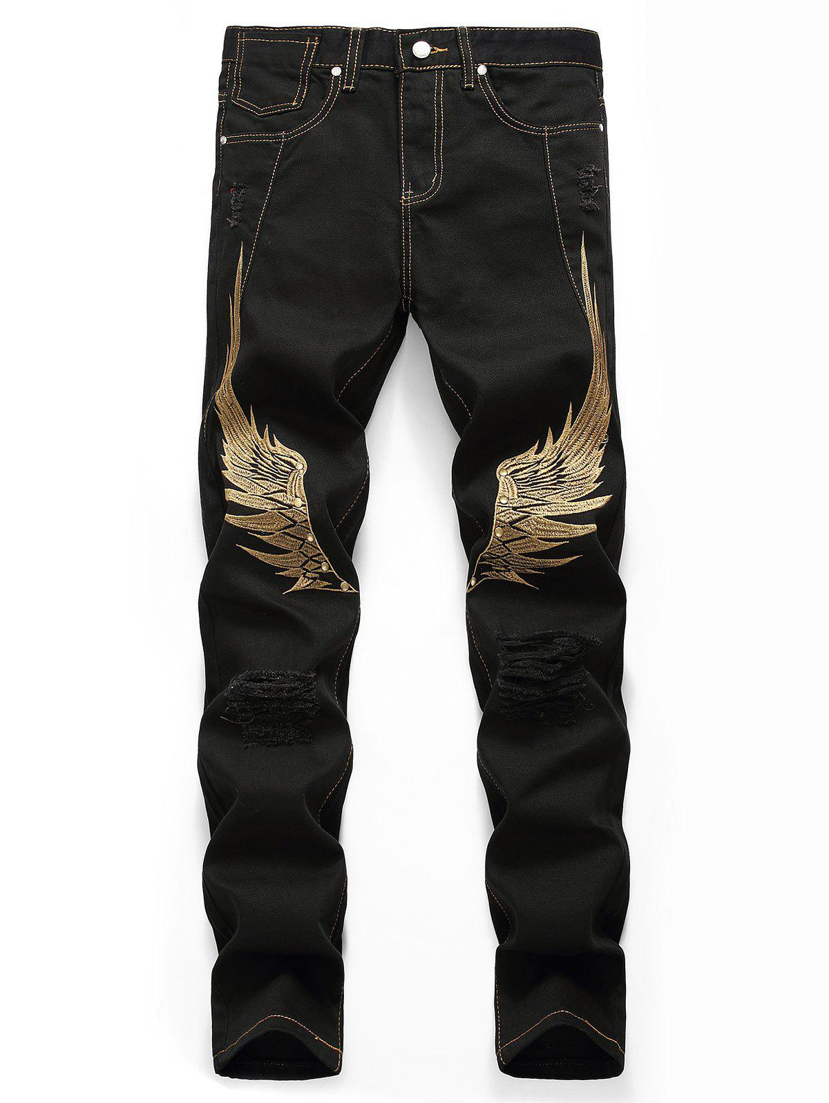 Shop Wing Embroidery Zip Fly Casual Jeans