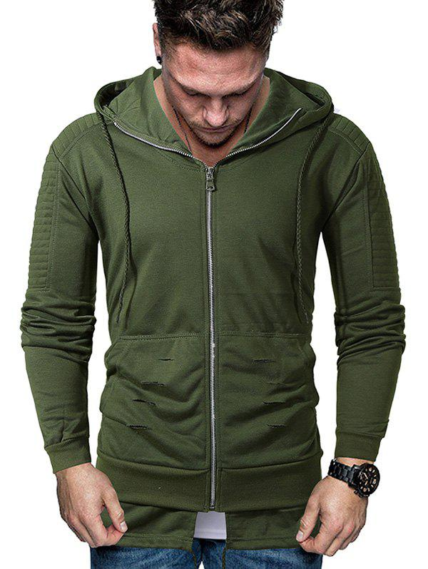 Cheap Solid Pleated Sleeve Ripped Faux Twinset Hoodie