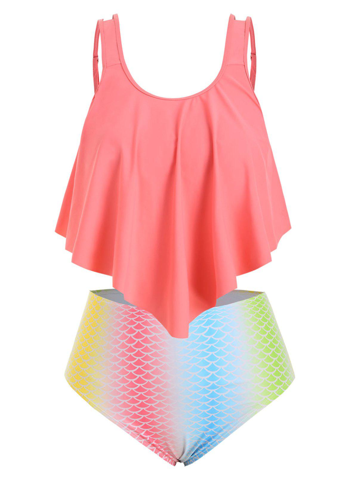 Store Plus Size Ombre Mermaid Tankini Swimwear