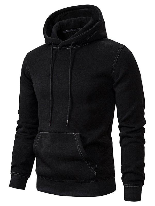 Buy Contrast Sewing Front Pocket Fleece Hoodie