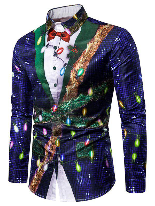 Christmas Faux Sequins Button Up Tuxedo Shirt фото