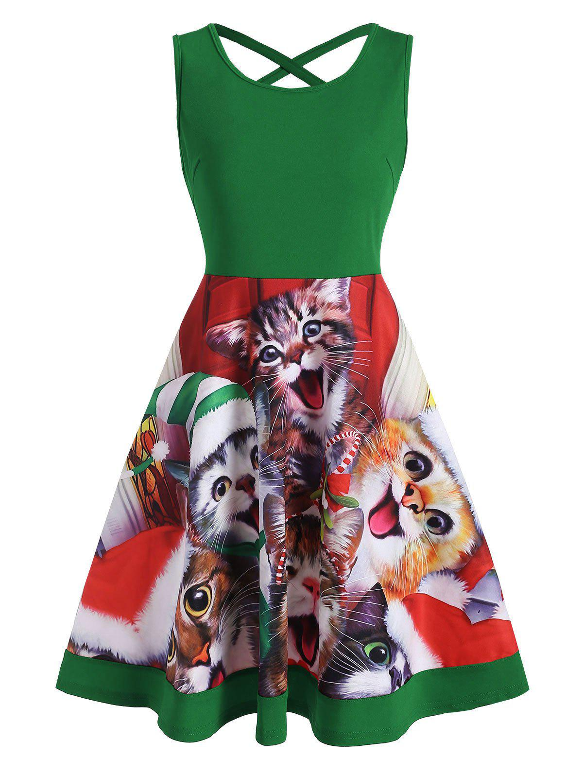 Best Cat Graphic Criss Cross Christmas Mini Dress