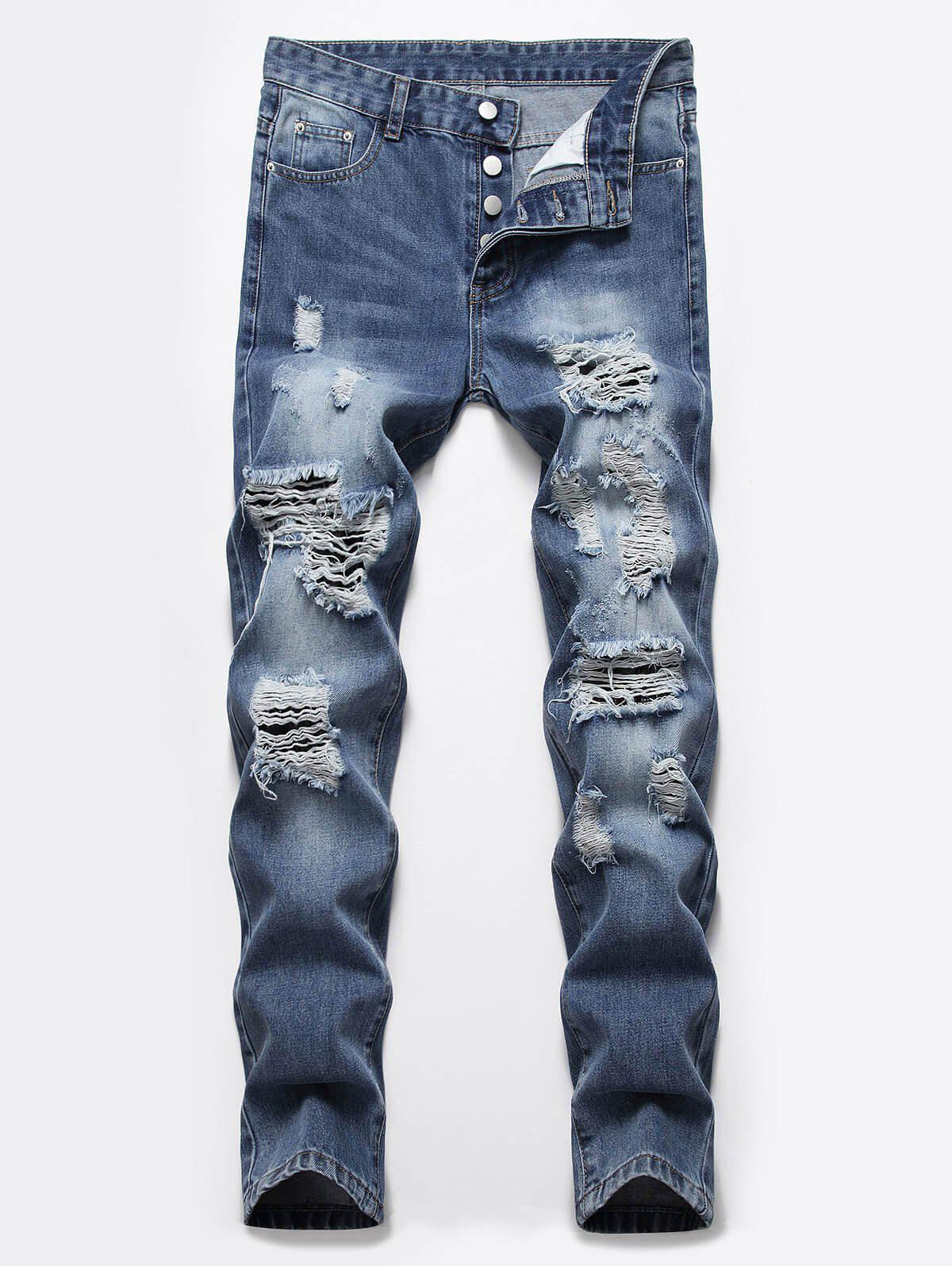 Unique Destroyed Ripped Button Fly Casual Jeans