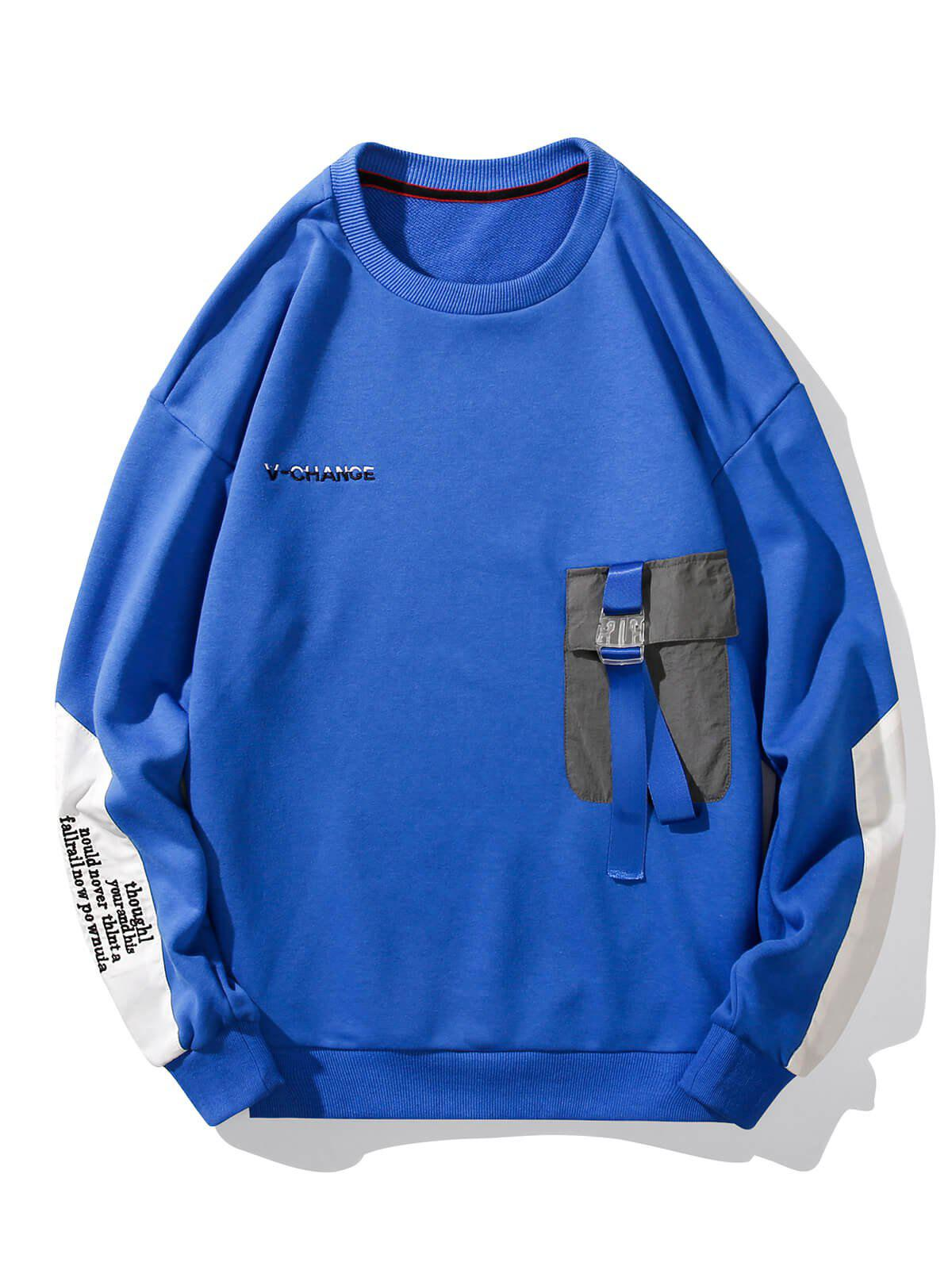 Discount Buckle Pocket Letter Embroidery Casual Sweatshirt
