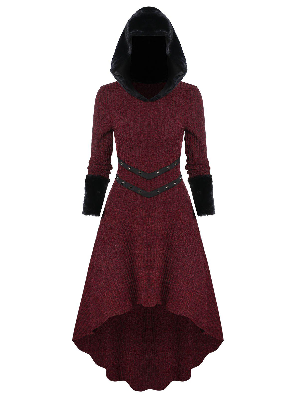 New Knitted Furry Sleeve Hooded Dress