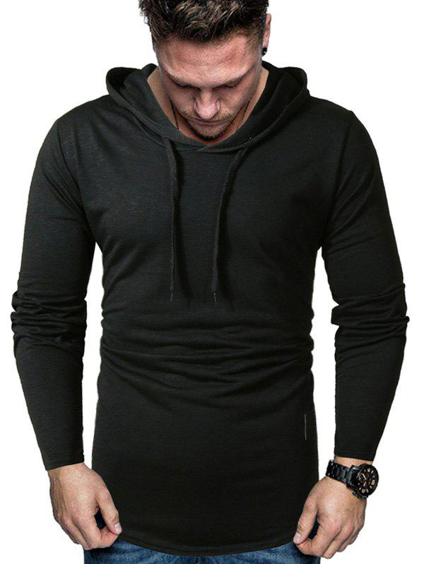 Cheap Curved Hem Applique Drawstring Hoodie