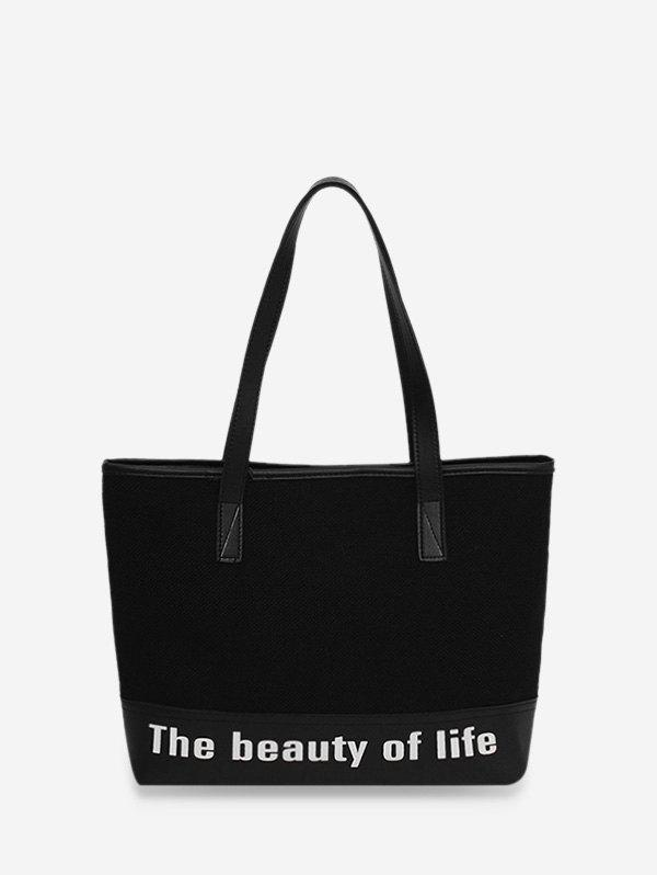 Online Letter Print Large Capacity Canvas Shoulder Bag