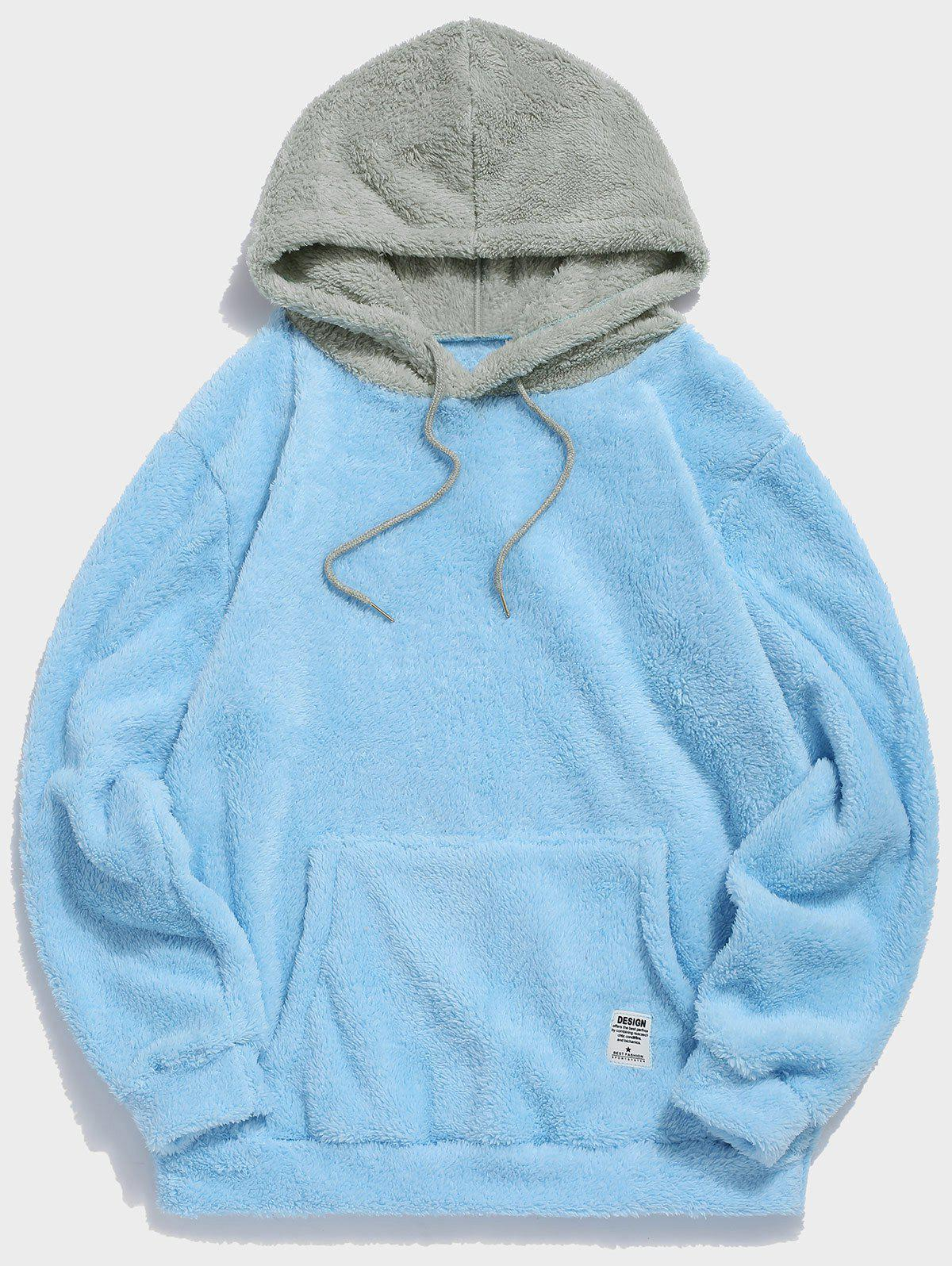 New Colorblock Splicing Faux Fur Fluffy Hoodie