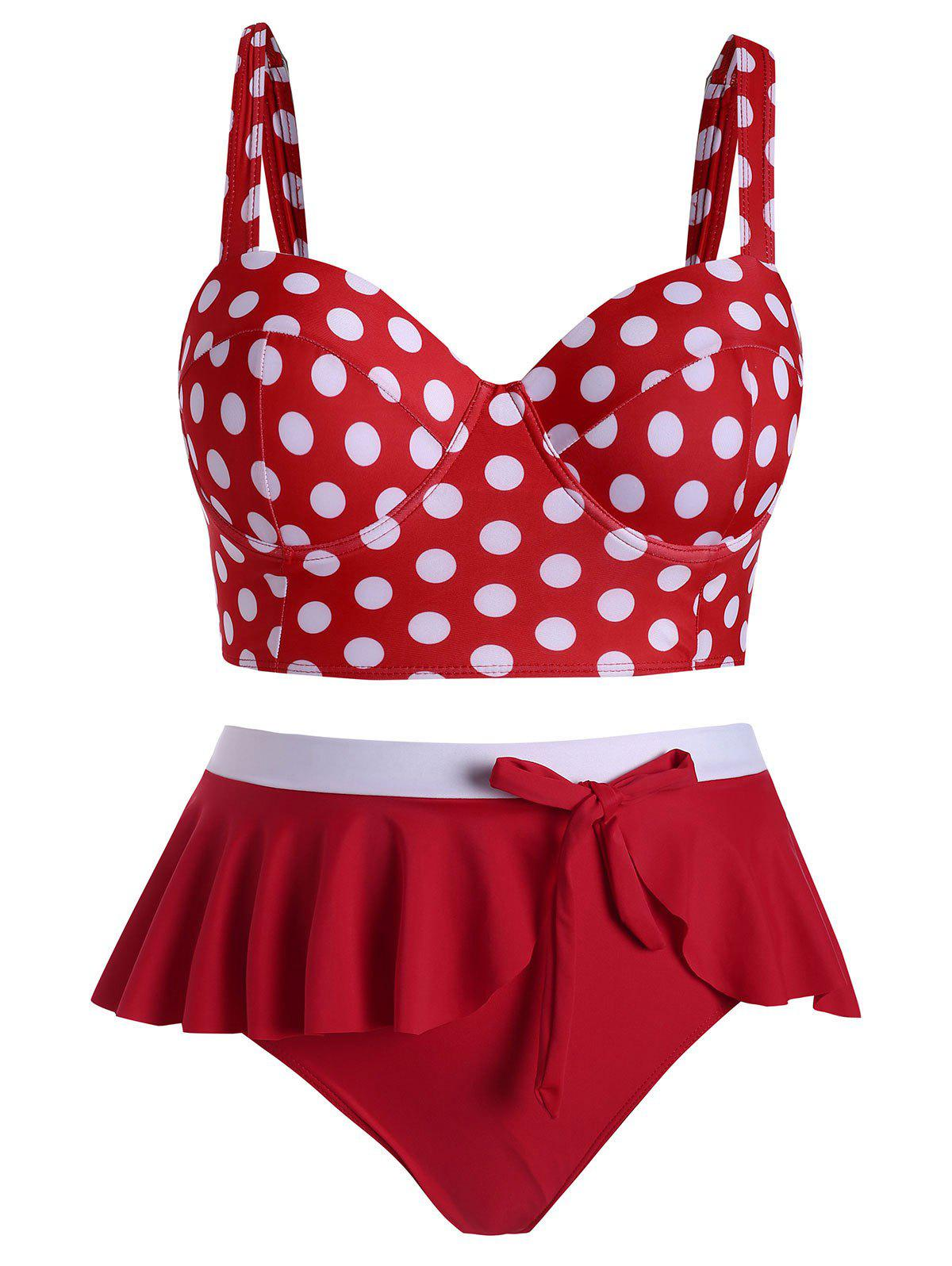 Outfit Plus Size Underwire Polka Dot Flounce Tankini Swimsuit
