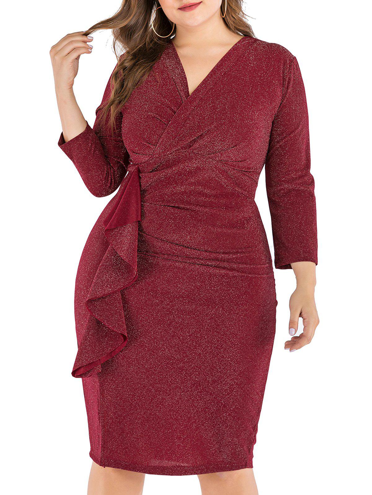 Sparkly métallique Volants Slit Plus Size Surplice Robe Rouge Vineux 5X