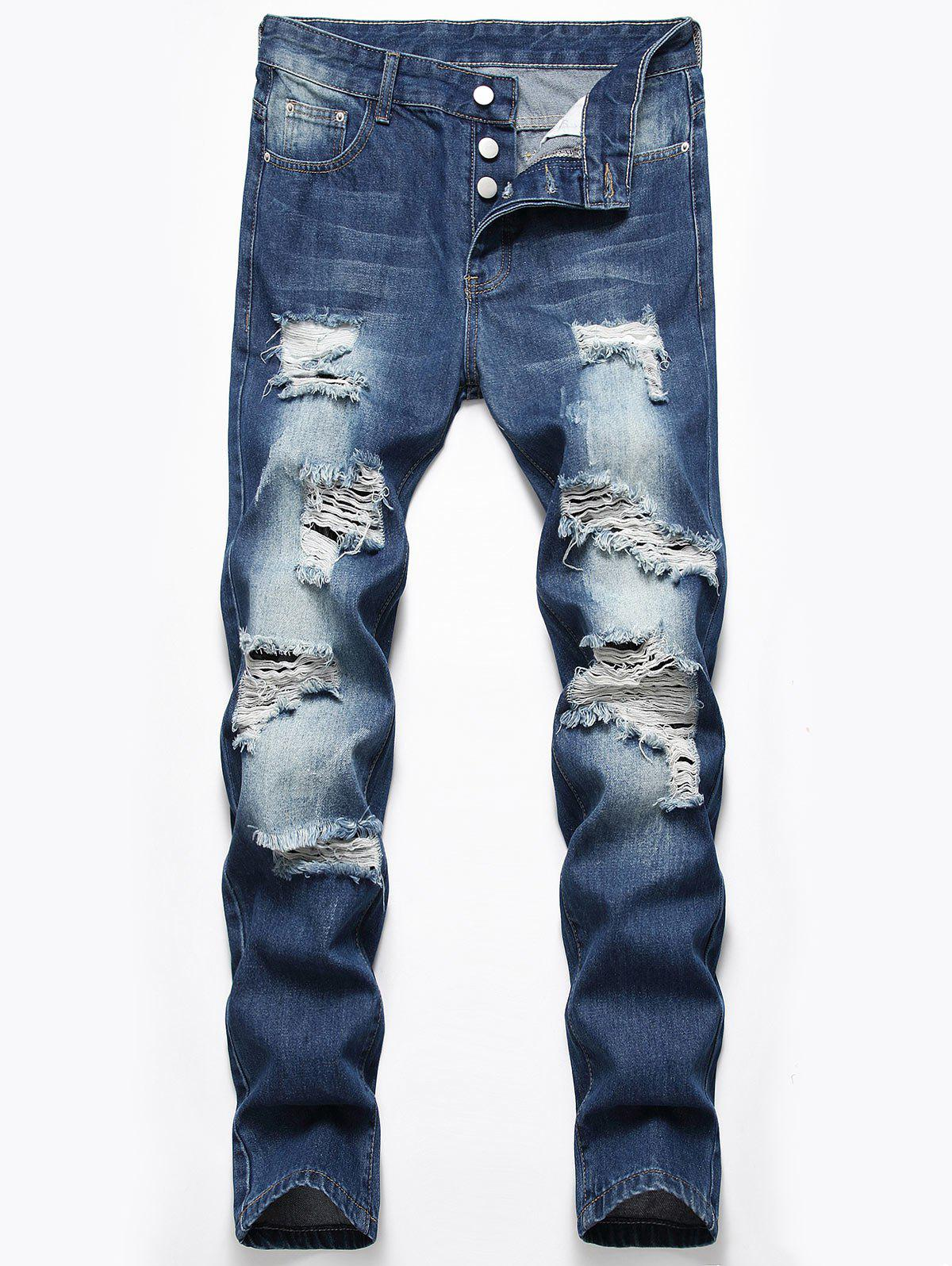 Store Destroyed Design Button Fly Casual Jeans
