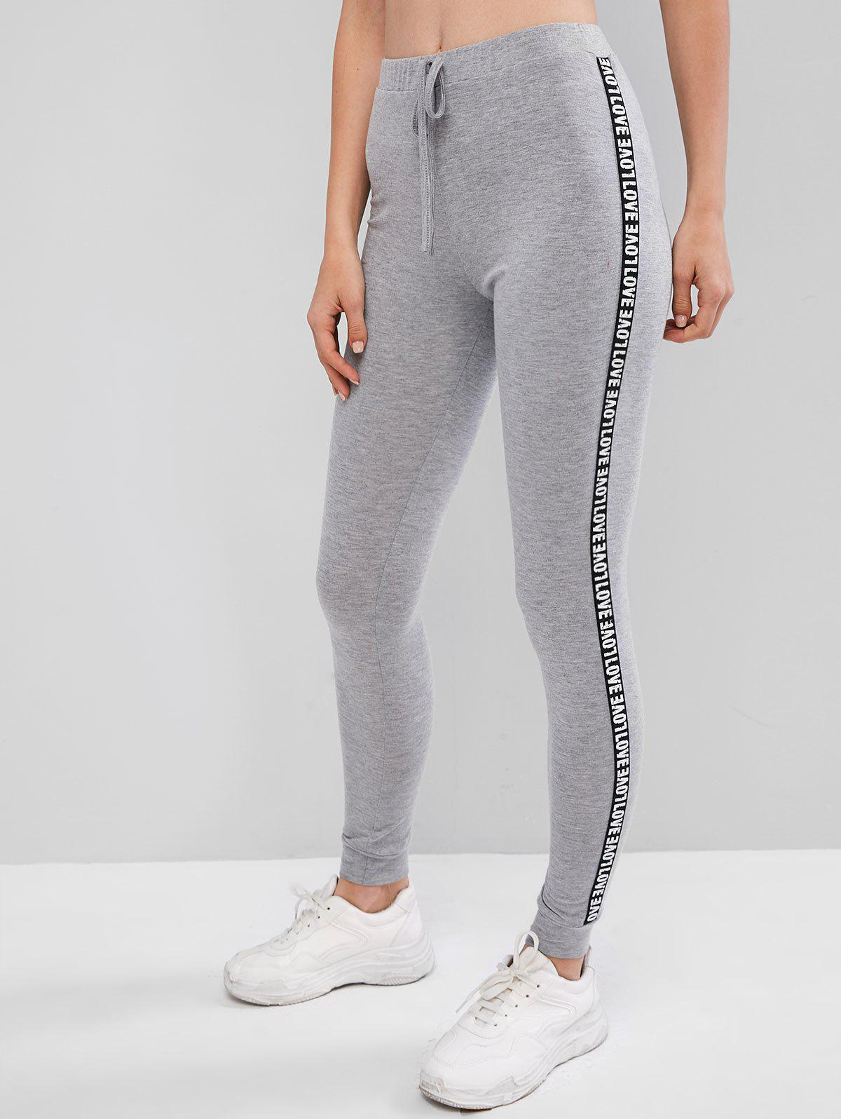 Latest Letter Patched Heathered High Waist Leggings