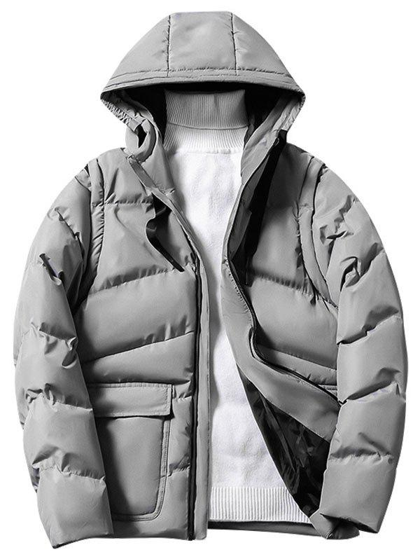 Discount Solid Color Zipper Hooded Puffer Jacket