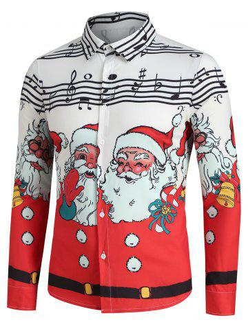 Christmas Santa Claus and Music Notes Print Button Up Festival Shirt
