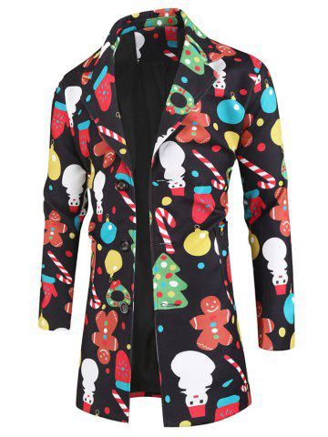 Christmas Snowman Cartoon Pattern Coat - BLACK - XL