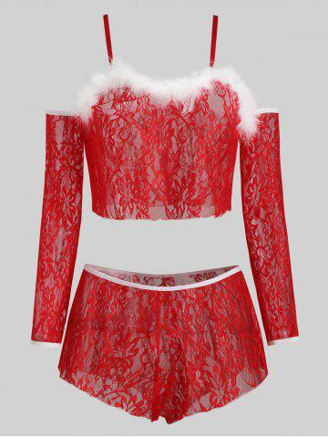 Christmas Sleeves Gloves Faux Fur Lace Plus Size Lingerie Set