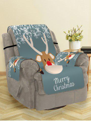 Christmas Deer Snowflake Couch Cover - GRAYISH TURQUOISE - SINGLE SEAT