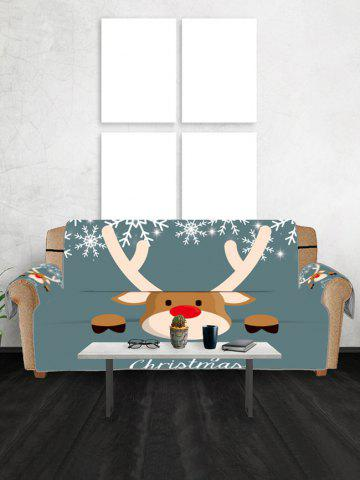 Christmas Deer Snowflake Couch Cover - GRAYISH TURQUOISE - THREE SEATS