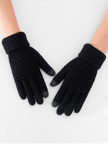 Thick Winter Knitted Solid Telefingers Gloves