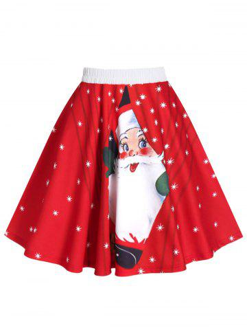 Snowman Santa Claus Print Christmas Skirt - RED - XL