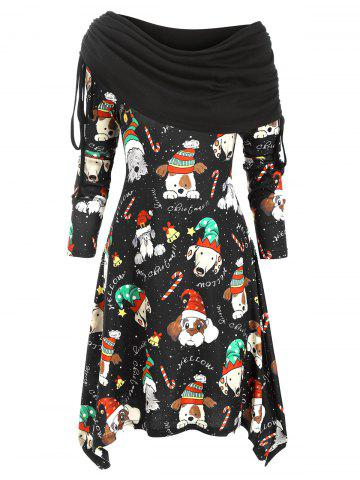 Christmas Dog Print Asymmetrical Cinched Knitted Dress