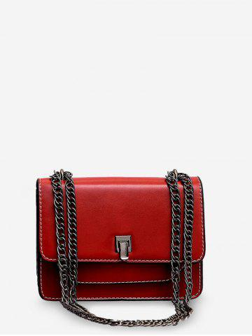Chain Square Pocket Leather Shoulder Bag - from $24.38