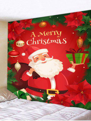 Christmas Santa Claus Flower Greeting Print Tapestry Wall Hanging Art Decoration - from $13.77
