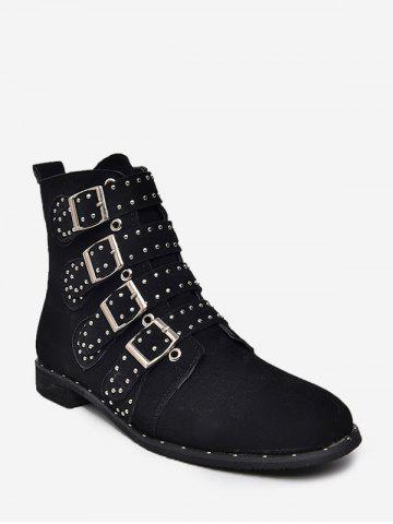 Multi Buckle Studded Ankle Boots