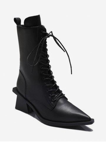 Slim Pointed Toe Lace Up Mid Calf Boots