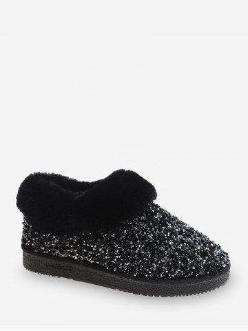 Sequined Faux Fur Ankle Snow Boots