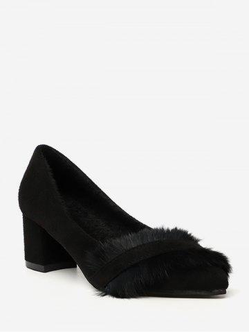 Fuzzy Panel Pointed Toe Low Heel Pumps