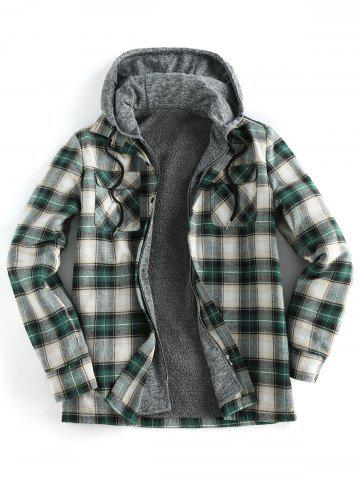 Plaid Print Double Pocket Hooded Faux Twinset Fleece Shirt