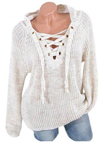 Lace Up Raglan Sleeves Hooded Sweater - WARM WHITE - XL