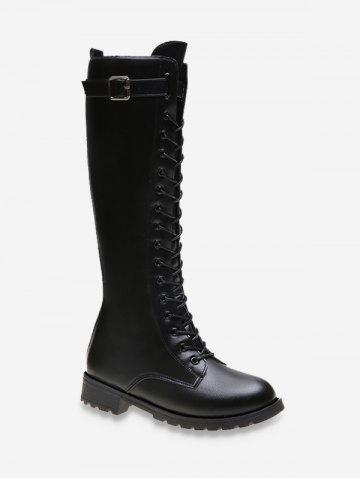 Buckled PU Leather Knight Knee High Boots