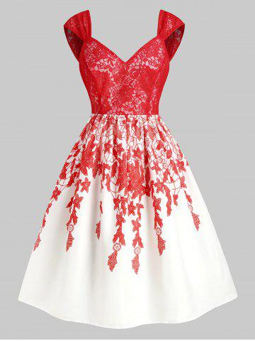 Floral Print Lace Panel Sweetheart Party Dress