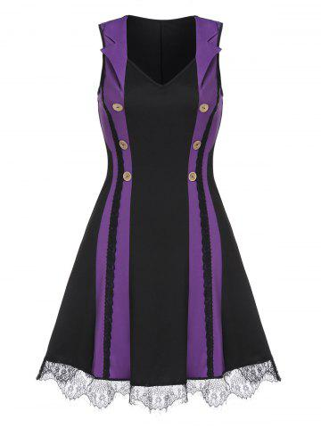 Mock Button Lace Trim Contrast Sleeveless Dress