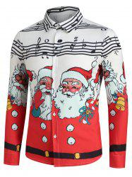 Christmas Santa Claus and Music Notes Print Button Up Festival Shirt -