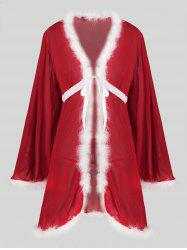Christmas Tie Front Fuzzy T Back Sheer Mesh Plus Size Robe -